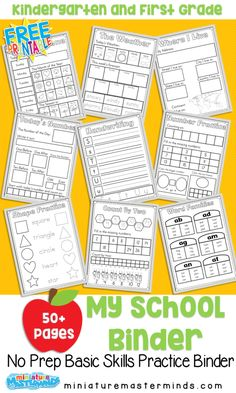My School Binder Basic Skills Practice Book For Ages 4 6 Free Printable Spring No Prep Kindergarten 130 Page Worksheet Book Miniature Masterminds Kindergarten Curriculum, Homeschool Curriculum, Homeschool Worksheets, Homeschool Supplies, Kids Worksheets, Homeschooling Resources, Printable Worksheets, Literacy, First Grade Curriculum