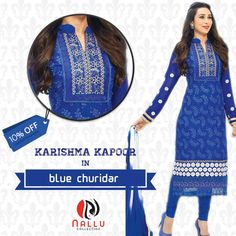 Stunning #Karishma in Electric Blue #Churidar #Suit with #Chiffon #Dupatta, it has collar neck and #designing yoke, white patches on #fullsleeves, having white #embroidery with Blue jhalar lace on bottom. #bollywoodstyle #bollywoodactress #karishmakapoor #bestbuy #shoponline #ethinicwear Shop From: http://goo.gl/OfdB78
