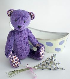 lavender bear by  Bodnar, bear is going to take a bath
