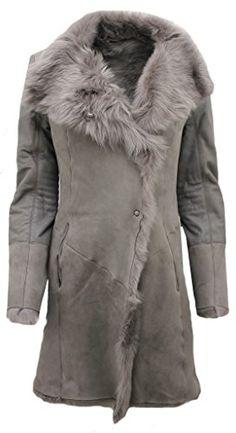 9bb0a04646 Women Long Gray Suede Toscana Sheepskin Leather Coat XS - Winter Outfits  Women Snow Fashion W