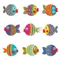 Fish Collection Colorful Graphic Cartoon Childish illustration set