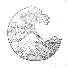 """""""The Great Wave"""" outline. i want it as a tattoo - """"The Great Wave"""" outline. i want it as a tattoo The Effective Pictures We Offer You About wave - Leg Tattoos, Body Art Tattoos, Tatoos, Wave Tattoos, Tattoo Outline, Tattoo Drawings, Art Drawings, Arte Sketchbook, Geometric Tattoos"""