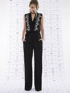 embroidered black jumpsuit | Skirt the Ceiling