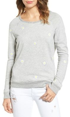 8f637f1a680a4 Women s Sundry Daisies Embroidered Sweatshirt Embroidered Sweatshirts