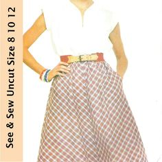 Butterick See & Sew Pattern 3898 Misses Shirt and Skirt Uncut Size 8 10 12