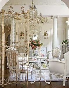 creative use of iron partition - indoors - perfect for chippy vintage shabby chic!
