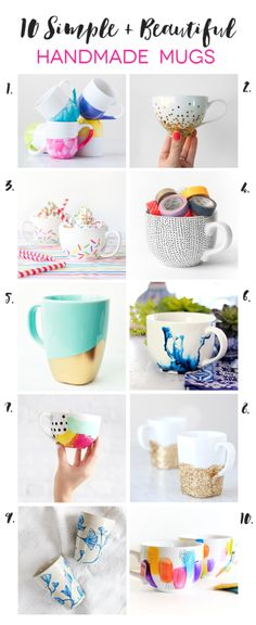 A great collection of 10 simple and beautiful handmade mug tutorials. These are a great handmade gift idea!