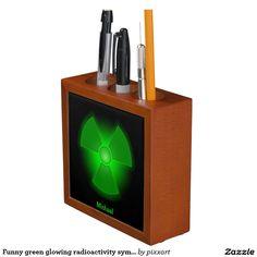 Funny green glowing radioactivity symbol pencil holder