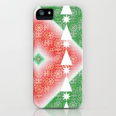 Christmas Watermelon iPhone & iPod Case #new #holiday #pattern #midcentury #Modern #green #red #Christmas #trees #graphic #art on #tech #phone #iPhone #iPhone6 #Samsung #cases for #gifts #office #fashion #accessory by #vikkisalmela #polkadotstudio.
