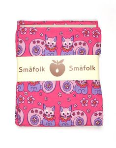 Pink one person duvet cover with purple cats - Smafolk