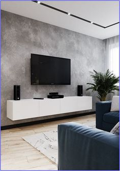 Custom Design TV Wall Tips For The Living Room ~ kliksaya. Living Room Grey, Small Living Rooms, Home Living Room, Living Room Decor, Modern Living, Minimalist Living, Modern Tv Room, Home Room Design, House Design
