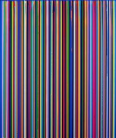 Poured Lines: Dark Cobalt Blue Study by Ian Davenport