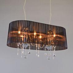 Kronleuchter Ann-Kathrin Oval 80 chrom mit schwarzem Schirm Wunderschöner Kristall- Kronleuchter, eine harmonische Verbindung zwischen Klassik und Moderne. #lampenundleuchten.at #Pendelleuchte #Kronleuchter #Innenbeleuchtung