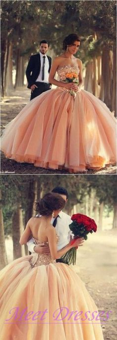 Blush Pink Tulle Wedding Dresses Ball Gown 2015 Sweetheart Bridal Gowns With Rhinestones Quinceanera Dresses
