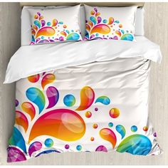 Colorful Luxury Brushed Microfiber Duvet Cover Set, Queen - Ultra Soft, Hypoallergenic Bedding Set, Machine Washable, Cute Raindrops in Different in Gradient Colors Abstract Splash Style Design Cute Duvet Covers, Comforter Cover, Duvet Bedding, Bed Duvet Covers, Duvet Cover Sets, Comforter Sets, Pillow Shams, Creative Beds, Rainbow Bedroom