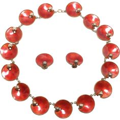Exceptional Norway Enamel 925S Necklace & Earrings Signed