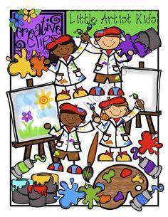 Little Artist Kids {Creative Clips Digital Clipart} Art Clipart, Projects For Kids, Art Projects, Art Bulletin Boards, Learn To Sketch, Art Classroom, Google Classroom, Classroom Ideas, School Clipart
