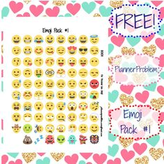 Emoji Pack #1! | Free Printable Planner Stickers from Plannerproblem.wordpress.com! Download for free at https://plannerproblem.wordpress.com/2016/07/18/emoji-pack-1-free-printable-planner-stickers/