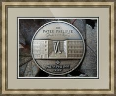 """Patek Philippe Geneve Commemorative Medal Coin // Paper: enhanced matte; Glazing: acrylic; Moulding: silver, providence silver; Top Mat: black/gray, granite; Middle Mat: black/gray, noir; Bottom Mat: white/cream, topaz // Price starts at $206 (Petite: 21.5"""" x 24.5""""). // Customize at http://www.imagekind.com/Patek-Philippe-Geneve-PPG_art?IMID=8a85802b-eeec-4645-9012-f6a2af3151ab"""