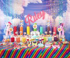 The awesome Five Fun Spring Birthday Party Themes For Kids With Spring Birthday Party Decorations picture below, is segment of … Kids Party Themes, Birthday Party Decorations, Birthday Parties, Birthday Ideas, Party Ideas, Anniversaire My Little Pony, Rainbow Candy Buffet, Troll Party, Summer Birthday