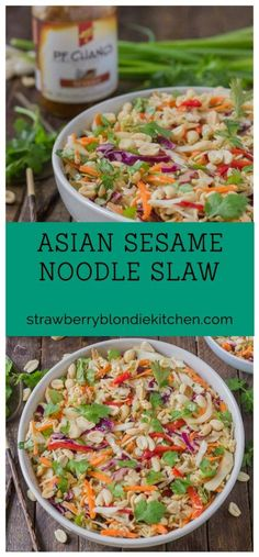 Simple and delicious, this Asian Sesame Noodle Slaw comes together quickly with a little help from P.F. Chang's Sesame sauce for you to be side dish ready in 5 minutes! #SimpleSecret AD @walmart Don't forget to enter the #SimpleSecretSweepstakes here ---> http://cbi.as/7wg-j | Strawberry Blondie Kitchen