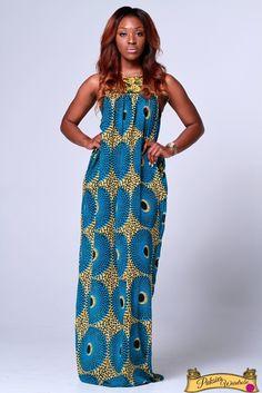Makinisy ankara chiffon maxi dress with pockets. Loose-Fit ~African fashion, Ankara, kitenge, African women dresses, African prints, Braids, Nigerian wedding, Ghanaian fashion, African wedding ~DKK