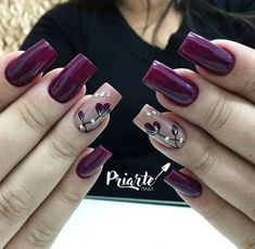 Amazing wine red nail polish spring nails 17 Amazing Nail Polish Hacks That You'll Love Glitter Manicure, Manicure E Pedicure, Fall Manicure, Fall Nail Designs, Acrylic Nail Designs, Pedicure Designs, Purple Nails, Red Nails, Matte Nails