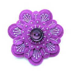 Layered purple embroidered flower brooch with button center, bead accents Felt Flowers, Fabric Flowers, Fabric Crafts, Sewing Crafts, Felt Embroidery, Japanese Embroidery, Flower Embroidery, Embroidered Flowers, Embroidery Stitches