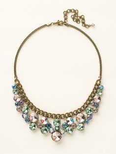 Round Crystal Cluster Bib Necklace in Spring Rain by Sorrelli - $225.00 (http://www.sorrelli.com/products/NCW10AGSPR)