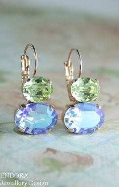 rose gold blue and yellow crystal earrings | blue and yellow wedding | double oval earrings | www.endorajewellery.etsy.com