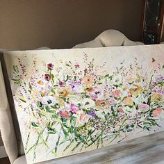 Items similar to Abstract Flower Painting Custom Oil Painting Flowers Palette Knife Painting on Canvas Living Room Wall Art Bohemian Painting Lilac Painting on Etsy Oil Painting Flowers, Yellow Painting, Abstract Flowers, Oil Painting Abstract, Texture Painting, Abstract Canvas, Oil Paintings, Oil Canvas, Canvas Art