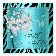 Masquerade Sweet Sixteen Sweet 16 Teal Zebra 5.25x5.25 Square Paper Invitation Card