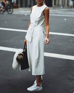 15+Outfits+to+Wear+with+Your+New+White+Sneakers+via+@PureWow
