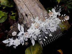 Tajanna / svadobný hrebienok do vlasov - marhuľový