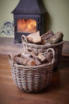 Round Wicker Log Storage Baskets At DesResDesign Y