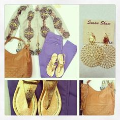 NEW MM Courture, Button Down Raglan in Ivory Print,  NEW DL1961, Emma Skinny in Nevis,   Big Buddha, Adair Hobo in Tan,   Tory Burch, Britton Flat Sandal in Gold,   Susan Shaw Earrings