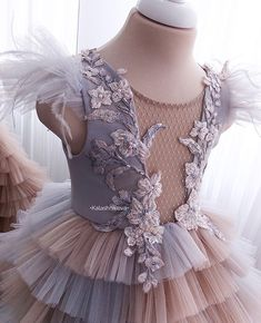 No automatic alt text available. Wedding Dresses For Girls, Little Girl Dresses, Girls Dresses, Flower Girl Dresses, Little Girl Fashion, Kids Fashion, Dress Anak, Kids Gown, Baby Couture