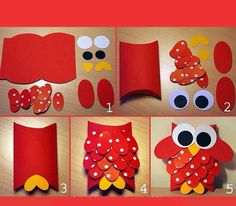 Pillow box owl / punches used Owl Crafts, Paper Crafts For Kids, Diy For Kids, Diy And Crafts, Arts And Crafts, Toilet Paper Roll Crafts, Diy Paper, Art Origami, Papier Diy