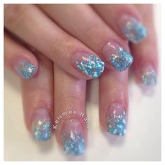 Young Nails acrylic glitter fade with Leopard nailart