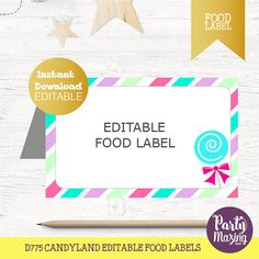 Candyland Party Buffet Cards. Editable Printable Food Label. Favor Tag. Instant Download,  D775