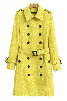 Yellow Lace Pattern Lapel Long Sleeve Trench Coat Outerwear