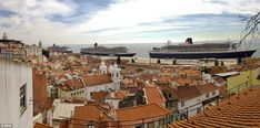 Quite the line-up: All three of Cunard's grand ocean liners are currently docked in Lisbon - from left to right Queen Victoria, Queen Elizab...