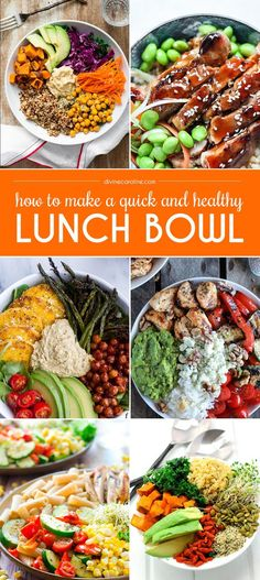 Ditch your boring sandwich or salad, and try a healthy lunch bowl that is filling, balanced, and nutritious instead. Lunch bowls are quick and simple to make—no recipe is required. Simply use your imagination to combine hearty ingredients into a bowl.