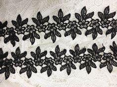 Venise Lace Black Lace Trim Flower and Leaf Trim by lacelindsay