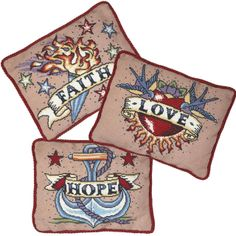 Sweet Ginger Emporium - Faith, Love, hope. amazing contemporary modern needlework cross stitch kits. tattoo craft! by Emily Peacock.