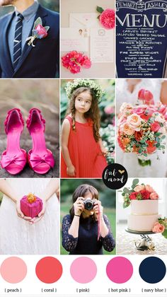 Coral pink and navy blue wedding palette   http://www.fabmood.com/coral-pink-and-navy-blue-wedding-palette/