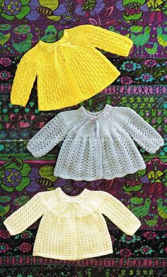 three designs baby matinee coat  vintage knitting pattern  19 - 20 inch chest sizes  double knitting wool  PDF Instant download