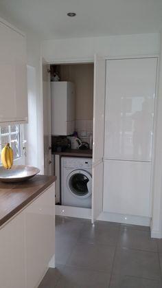 Stacked Washer Dryer, Washer And Dryer, Washing Machine, Kitchen Ideas, Kitchens, Kitchen Cabinets, Home Appliances, House Appliances, Washing And Drying Machine