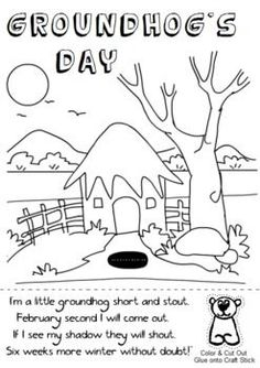 groundhogs day coloring sheet cut out the groundhog puppet and glue him to a craft