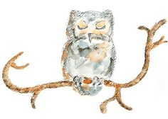 Sleep Puff - Nursery Art Print, Owl on Tree Branch, Whimsical Woodland Watercolor Painting Art Print, Neutral Home Decor
